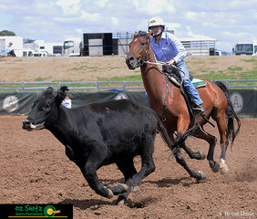 Both Brooklyn Symes and Braeview Kingsman staying focused in the Maiden Series Campdraft as they work their way around the pegs.