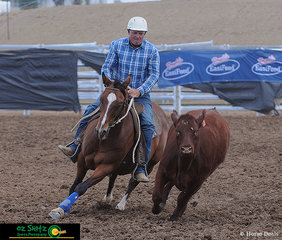 With a clear connection, Andrew Chapman and Koolewong Acres Cattle King stay close to their beast in the Open Campdraft.