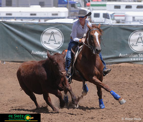 Making sure to stay one step ahead, Erin Amos and Yoorana Copper Acres keep their eyes on the beast in the Open Campdraft.