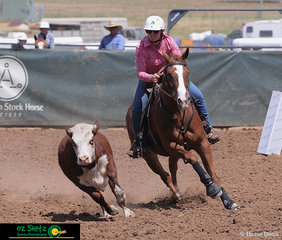 Closely focused on the beast, Rebecca Quinn and Coolidowns Levi keep their eyes on the prize as they compete in the Open Campdraft.