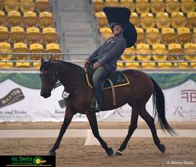 Kicking off the Freestyle Dressage Free Choice was Kym Hagon and Manelle Bonnie, they entertained the crowd with a series of songs and an amazing routine