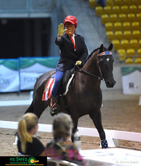 Donald Trump made an appearance in the freestyle Free Choice Dressage on Friday Night  masqueraded by Sandra Langford and Maybah Number Five