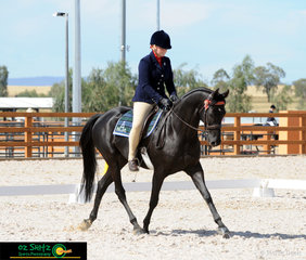 Strutting their stuff in the  Preliminary 1C dressage arena on the third day of competition was Amy Andrews and Nethaway Flash at the 2019 Australian Stock Horse Nationals.