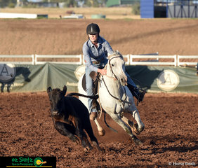 Keeping the beast close was Laura Macintosh and 9 year old, Millungeras Blue Violet in the Maiden Series Campdraft.
