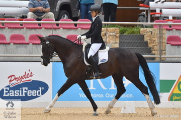 Robbie McKinnon rode her own and David McKinnon's, De Niro gelding, 'HV Del Piero' to score an impressive 85.20% to win Round 2 of the 4 Year Old Young Horse class.