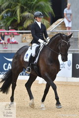 NSW rider, Edwina Hutton-Potts rode her own San Amour gelding, 'WPH Sachio' to fourth place in Round 2 of the 5 Year Old Young Dressage Horse class.