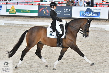 Jemma Heran came, saw and conquered all U25 competition on offer during the second week of competition at the 2019 Dressage By The Sea CDI 4*. Jemma is pictured aboard her super Danish import, 'Hedelunds Mefisto' by Michellino that earned 71.12% to win the Do Well/Lennock /Animal Art House U25 Freestyle.