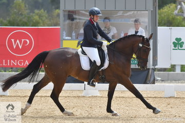 Denise Rogan rode Lisa Carver's Grandioso gelding, 'Greco' to take third place in Round 2 of the 6 Year Old Dressage Horse class with 73.40%.