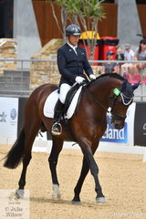 Jeffrey Adams rode his Royal Hit stallion, 'Cool Hand Aloof' to fourth place in Round 2 of the 6 Year Old Young Dressage Horse class.