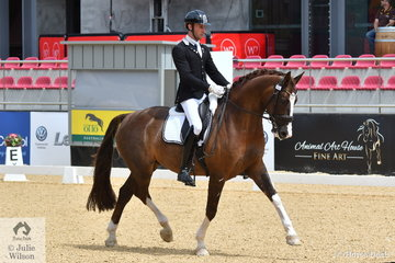 Jayden Brown  is pictured aboard the Lauren Brown Family Trust nomination, 'Bertone' by Benicio that won Round 2 of the 6 Year old Young Dressage Horse class with 82%.