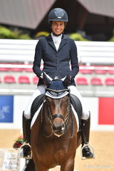 Deborah Oliver rode her German mare, 'Highfields Bella Vita' by Beltano to take second place in  Round 2 of the 6 Year Old Dressage Horse class with 76.40%.