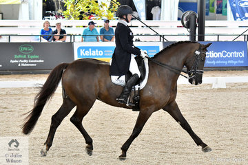 Popular international rider trainer and coach Rozzie Ryan from Newcastle in NSW rode her home bred, 'Jarrah R' by Jive Magic (imp) to second place in the Willinga Park CDI4* Grand Prix Freestyle with 73.42%.