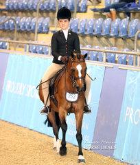 "Top 10 placegetter in the Medium Hunter Pony Championship ""Tamlyn Farm Tobias"" ridden by Georgia Currall."