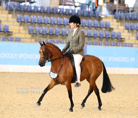 """Jo Anne Parry and """"Teeona Cosette"""" photographed during their workout in the Medium Hunter Pony of the Year event."""