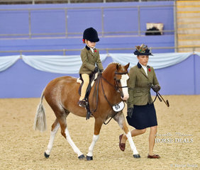 """Top 10 placegetter in the Hunter Lead Rein Pony event """"Cranellie Alexander"""" ridden by Xanthe Pye and led by Tatum Bradley."""