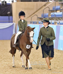 """Steph Chenery led and Sophie Carter rode """"Eagle Park Achilles"""" to a 3rd place in the Hunter Lead Rein of the Year event."""