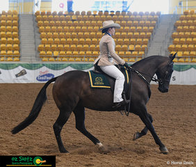 In the second phase of the ABBEY Open Challenge Working Pattern, Jade Fangmeier and Silverthorn Wills completed an admirable test on day four of the 2019 Australian Stock Horse National Show.