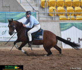 Showing everyone how it's done is Bridie Akeroyd and Bridies Destiny in the Working Pattern on day four of the 2019 ASH National Show.