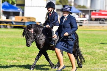 Open leading rein winner, Jade Sambell leading Jolly, ridden by Ruby Duynhoven