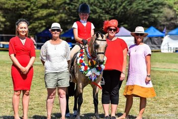 Supreme child's ridden exhibit was Brandyhollow candyman and Stella Horspole  With judges (left to right) Grace Hill, Renee Kewish, Melinda Pengelly and Sheree Greer