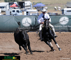 The winner of the National Maturity Campdraft Phase, Glenn Frazer on board Derowie Serendipity pictured carving it up with great style scoring a 91 on their run.