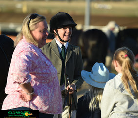 Hayley Barnard surrounded by her support crew at the beginning of the 2019 Australia Stock Horse National Futurity Series.