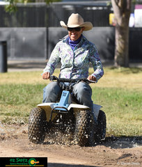 Tearing it up in the mud - Carly Domrow a school Principal at Thornton State School in Queensland found the muddiest spot on the grounds to have some fun in.