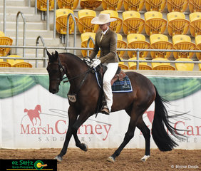 Showing talent in the 2 year old Snaffle Bit Futurity was 'Waratah Captain Marvel' ridden by Katherine O'Brien in the Hack Phase.