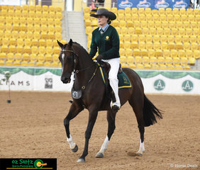 Kicking off the ASHLA class today, Joelle Lindsay rode Academy Rhapsody, a beautiful 11 year old Stock horse.