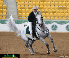 Executing a beautiful turn in the ASHLA class today, Amy Bonsor rode the 7 year old Brewers Binnawee Conductor.