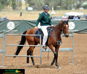 Making their way through the gate in the Junior Station Horse 2 years and under is Geordie Akeroyd and Tambeau Rival..