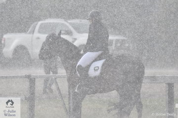 After weeks of hot weather in Melbourne, it certainly changed at Boneo Park on the first day of the 2019 Australian Arabian National Championships. The weather was cold and windy all day with frequent showers of hail and heavy rain. Jodie Van Breugel and her Obi-Wun had some of the worse weather during their Novice test.
