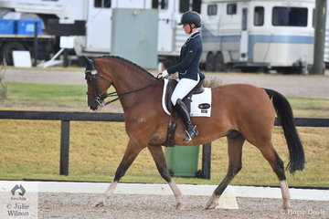 Megan Cheeseman rode her Gleneagles Giorgio to second place in the Mulawa Arabian Stud Medium 4B.