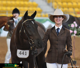 All smiles from Kaitlin Brown with her filly, Kari Cleopatra in the Led 2 year old class at the 2019 Australian Stock Horse National Show held at Tamworth, NSW.