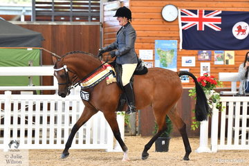 Sue Savage was thrilled to take out the Purebred Bridle Path Hack Championship riding her Metaxa W.