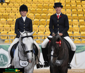 Waiting to go into the English Attire class pictured, Amy Bonsor on Brewers Binnawee Conductor and Carly Domrow on Sinders Sovereign.