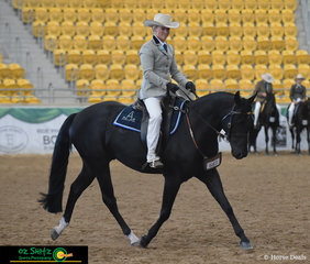 Working out for the Judge of the Junior Open Hack 3 Year Old Fountain of Youth class is Ainsley Maben and Riverglen Glack Magic