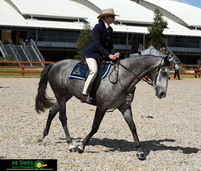 Competing in the Gelding 5 Years and Over Novice Hack Class was Uamby True Blue with Sue Kelly in the saddle.