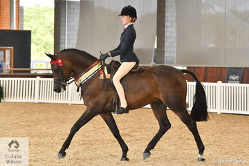 Jessiac Dertell is pictured aboard the Ron Campbell and Future Farms nomination, 'Kizashi' (CraveFF/Sia-Nara) that was declared Arabian Derivative Bridle Path Hack Pony/Galloway Gold Champion.