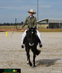 Looking relaxed in the Working 3 Year Old Filly Class on the  final day of the Australian Stock Horse National Show was Adelle Centrefold ridden by Michelle Wilton.