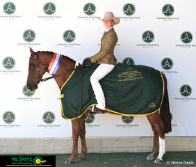 National Champion Hack Gelding 5 Years and Over went to the 11 year old, Midwave Resistance with Emma Donnelly in the saddle, owned by Bronwyn Parker.