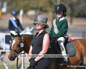 Elly Tepper in the 8yo and Under Led riding Bungalally Merlo representing Ararat