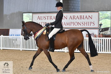 A busy Jessica Dertell rode  Meriell and Bruce Bilney's nomination, 'Dream Fever' (Gai El Jullyen/The Palms Uptown Girl) to claim the Arabian Show Hunter Gold Championship.