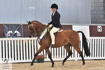 Castileon Park and S and D Webb's, 'Tarrangaw Zeal' (Tarrangaw Zeus/El Masri Farashah) was declared Silver Champion Ridden Arabian Pony.