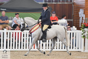 Tracy Burnside's stallion, 'Karanga Rockafella' (Imperial Tennessee/Karanga Lady Bird) was declared Bronze Champion Ridden Arabian Pony.