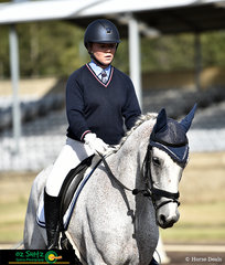 Displaying great concertration and determination in the One Star Dressage is Anna Jarvis and Cullendore Trigger at the 2019 NSW Interschool State Championships.