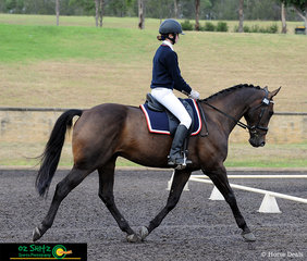 About to enter the dressage ring to start the first phase of class EvA95 Eventing at the NSW Interschool State Championships is Elise Payne and Tulla La Lea.