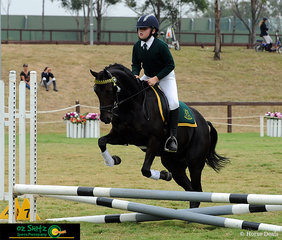 Completing an great round in the show jumping phase of the Combined Training 45cm class at the 2019 NSW Interschool State Championships is Ella Stringer and Somerfield Sound of Music.