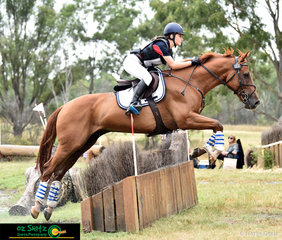 Exiting the water complex and saling over the 80cm Brush Box is none other than Bridgette Dalmau and Mount Baron.