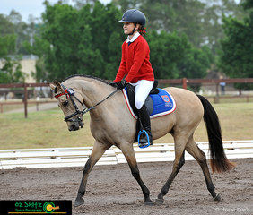 Happy to be riding her pony, Just Spirit at the NSW Interschool State Championships was Piper Trickett in the dressage phase of the EvA60.
